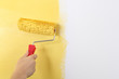 Painting the wall with a paint roller