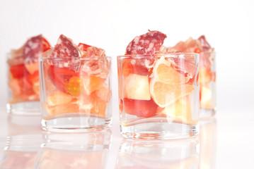 verrines pamplemousse - tomate