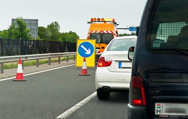 Traffic jam on highway with blockade