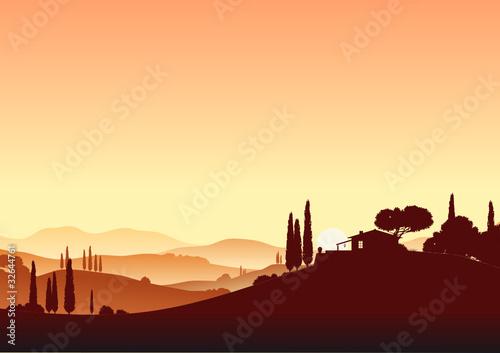Toskana im Sonnenuntergang