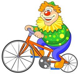 Happy clown riding on a bike. Vector illustration