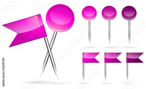 pink flag and round pin isolated on white background