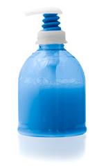 Dispenser bottle of liquid soap.