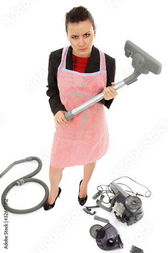 businesswoman and housewife tired - universal multitasking super