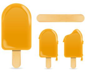 classic soft orange ice cream bar or ice pop isolated on white
