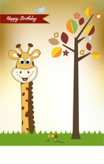 birthday greeting card with giraffe