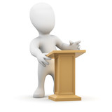 3d Little man speaks from the lectern