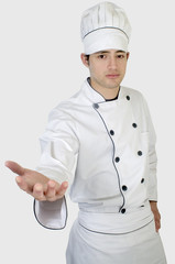 Retrato Chef de cocina dando la mano