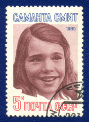 Portrait of Samantha Smith on the post stamp printed in USSR