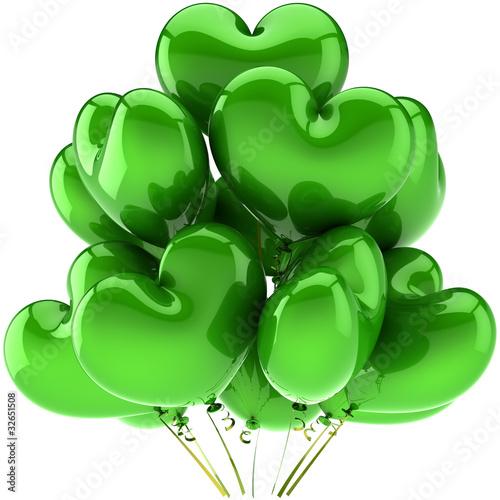Leinwandbild Motiv Birthday balloons green heart shaped beautiful party decoration