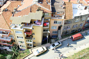Aerial view of housing at suburb in Istanbul