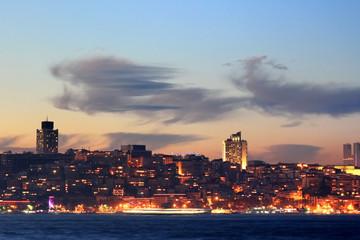 Kabatas - Dolmabahce region in night in Istanbul