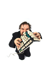 ugly man with broken keybord