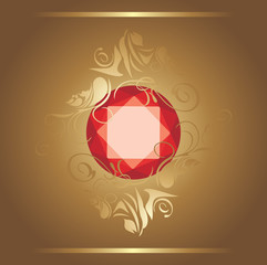 Shining ruby on the decorative background