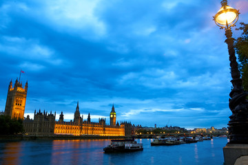 Houses of Parliament over Thames at dusk