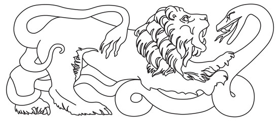 Lion battling snake