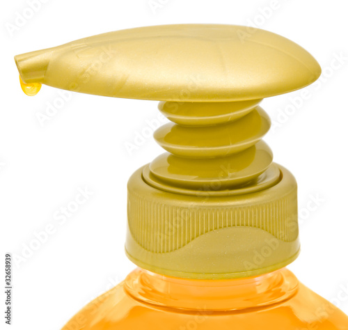 Dispenser bottle of liquid soap.