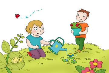 bambini fanno giardinaggio