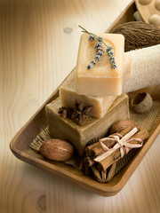 natural spices soap with bath accessories