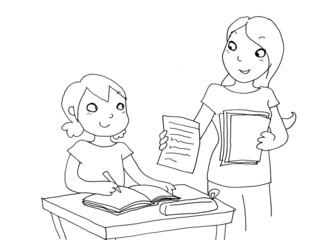 bambina riceve un buon voto a scuola. bianco e nero