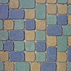 Cobblestone Texture Background Closeup green yellow blue grey