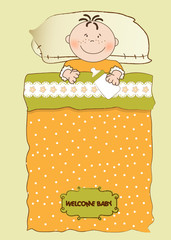 baby shower invitation with a child sleeping in his crib