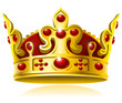 Gold crown with red gems