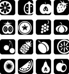 Black and white icons set - fruit cut