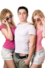 two beautiful blonde women with handsome young man