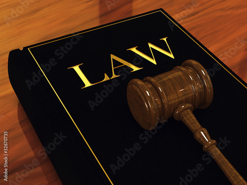 Judge's gavel and law book ,3d illustration