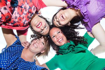 Teenage Female Friends in Circle, Bottom View