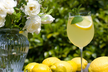 Cocktail with lemon slices outdoor