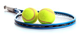 Tennis racket and balls isolated on white