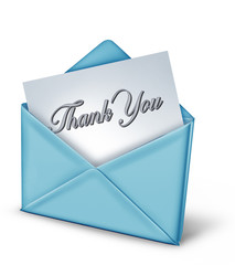 Thank you note in a blue envelope