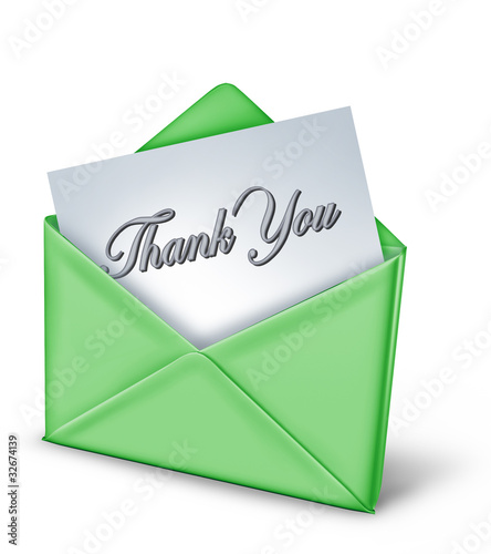 Thank you note in a green envelope