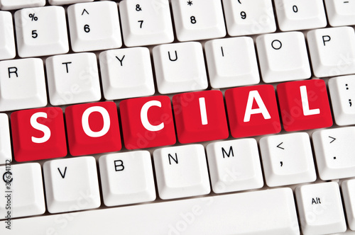 Social word on keyboard
