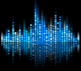 blue digital sound equalize isolated on black background