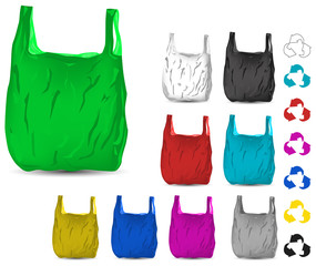 set of color recycle white and blue plastic bag