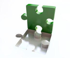 Green Jigsaw Puzzle in 3D