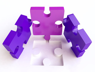 Isolated Jigsaw Puzzles Composition in 3D
