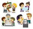 cartoon office worker icon set