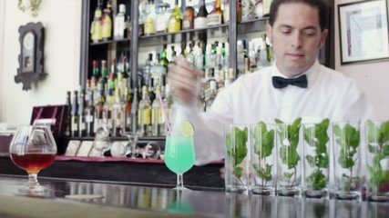 latin american barman leaning on counter