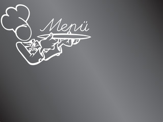 Menütafel - Tafel mit Koch und Tablett