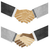 shaking hands recycled paper craft stick on white background poster