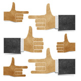 hands recycled paper craft stick on white background poster