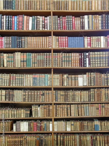 Rows of books on library shelves
