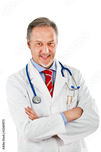 Portrait of a senior doctor isolated on white background