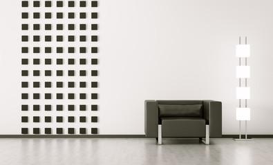 Zimmer mit sessel interior 3d render