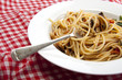 Freshly made spaghetti with a tomato and seafood souse.