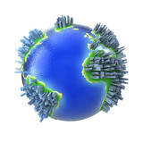 Concept congested globe with buildings poster